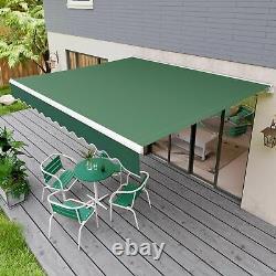 2.5 x 2m Patio Manual Awning Garden Canopy Sun Shade Retractable Shelter Green