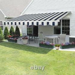 2.5x2m Retractable Awning Manual Outdoor Garden Canopy Patio Sun Shade Shelter