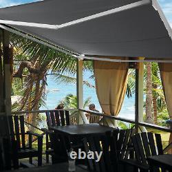 2.5x2m Retractable Patio Awning Manual Outdoor Garden Canopy Sun Shade Shelter