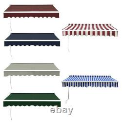 2m-4m Patio Retractable Manual Awning Garden Canopy UV Sun Shade Cafe Shelter UK