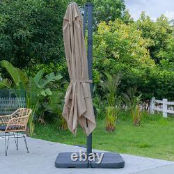 3 x 3m Patio Garden Parasol Umbrella Cantilever Hanging Sun Shade Canopy Base