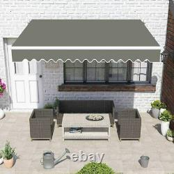 3m x 2.5m Patio DIY Manual Awning Garden Canopy Sun Shade Retractable Shelter UK