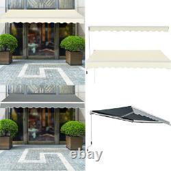 3x2.5M RetractableManual Awning Canopy Garden Aluminium Patio Shade Shelter