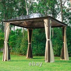3x3M Heavy Duty Metal Garden Gazebo Marquee Canopy Net Pavilion Patio Party Tent