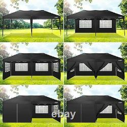 3x6M Gazebo Marquee Party Tent With 6 Sides Garden Patio Outdoor Canopy Black UK