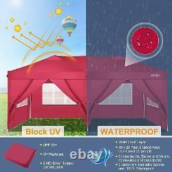 3x6M Heavy Duty Gazebo Marquee Canopy Waterproof Garden Patio Party Tent Red UK