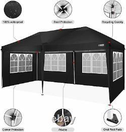 3x6m Garden Gazebo Black Party Shelter Tent, Patio Shade Outdoor Canopy Gazebo UK