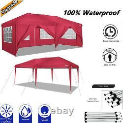 3x6m Garden Gazebo Black Party Shelter Tent Patio Shade Outdoor Sun Canopy Red