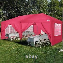 3x6m Garden Gazebo Black Party Shelter Tent, Patio Shade Outdoor Sun Canopy Red