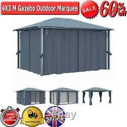 4X3 M Gazebo Outdoor Marquee Patio BBQ Canopy Party Tent Shelter Heavy Duty