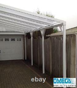Aluminium Canopy, Carport, Patio Cover with Knee Braces, 1.5m 3m Projection