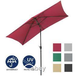 Aluminium Umbrella Garden Parasol Sun Shade Crank Outdoor Patio Canopy with Base
