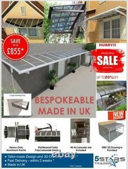 BESPOKE Heavy Duty Aluminium Canopy, Patio cover, Carport, Lean To, Door Awning