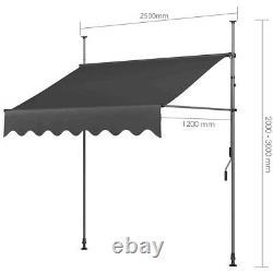 Balcony Awning Manual Adjustable DIY Patio Clamp Awning Canopy Retractable Shade