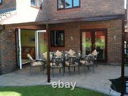 Brown Aluminium Canopy, Carport, Patio or Caravan Cover 3.5m 4.5m Projection