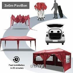 COBIZI Garden Waterproof Popup Gazebo 3x6m Patio Outdoor Canopy Party Tent RED