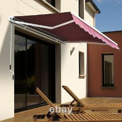 Cafe Shop Retractable Manual Awning Canopy Outdoor Patio Garden Sun ShadeShelter