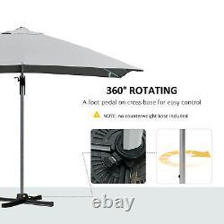 Cantilever Patio Umbrella Garden Parasol Rotating Canopy Adjustable Crank Grey