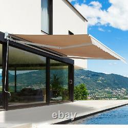 Electric Patio Awning Outdoor Retractable Window Canopy with Remote Control Beige