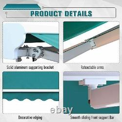 Electric Retractable Awning 3.5x2.5m Green Canopy Waterproof Patio Sun Shelter