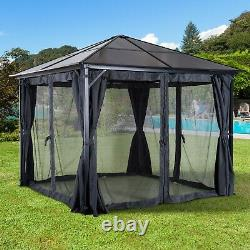 Garden Gazebo Patio Furniture Shelter Sun Shade Canopy Roof with Curtains Net Grey