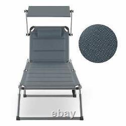 Garden Lounger Chair Reclining Sun Shade Patio Deck Outdoor Day Bed Padded Grey