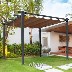 Garden Metal Pergola Large Outdoor Structure Retractable Sun Canopy Patio Shade
