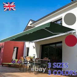 Garden Outdoor Patio Awning Canopy Manual Retractable Shelter Sun Shade Top UK