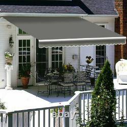 Garden Patio Awning Canopy Manual Retractable Shelter Sun Shade Grey 3 Sizes UK