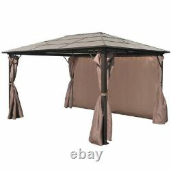 Garden Patio Gazebo Tent Party BBQ Canopy with Curtain Brown Aluminium 4 x 3 M