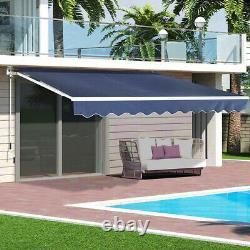Garden Patio Retractable Manual Awning Shop Navy Blue Canopy Sun Shade Shelter