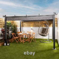 Garden Pergola 3m x 4m Aluminium Patio Gazebo with Retractable Canopy