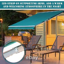 Huge Electric Retractable Awning 3.5x2.5m Green Canopy Motorised Patio Cassette