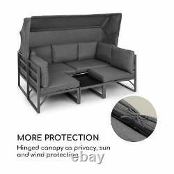 Lounger Set Garden Patio 4-Piece Convertible Poly Rattan Aluminium Cushion Table