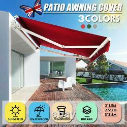 Manual Awning Canopy Outdoor Patio Garden Sun Shade Retractable Shelter UK STOCK