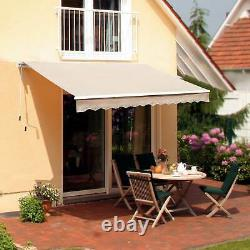 Manual Patio Awning Adjustable Retractable Summer Canopy Shade Crank Beige 3.5m