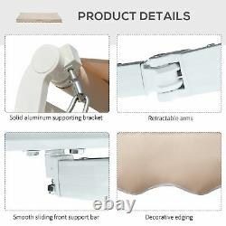 Manual Patio Awning Adjustable Retractable Summer Canopy Shade Crank Beige 3.95m