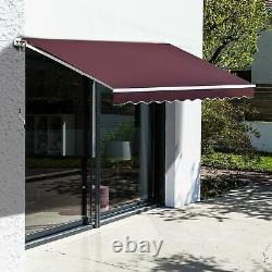 Manual Patio Awning Adjustable Retractable Summer Canopy Shade Crank Red 3.95m