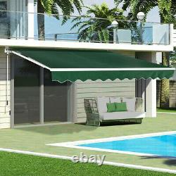 Manual Retractable Patio Awning Top Fabric UV Sunroof Outdoor Shade Wall Canopy