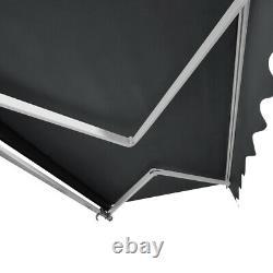New 3x2.5m Retractable Manual Awning Garden Canopy Patio Sun Shade Shelter GREY