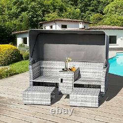 Outdoor Rattan Daybed Garden Patio Cushion Seat Canopy Footstool Coffee Table