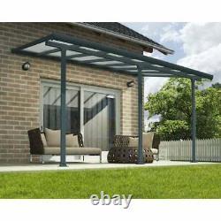 Palram Patio veranda Grey Aluminium garden patio Door Canopy Pergola 3 Sizes