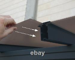 Palram Sierra Patio Cover Canopy Porch Door Pergola Gutter Grey Canopies New
