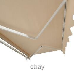 Patio 4X3m DIY Manual Awning Garden Canopy Sun Shade Retractable Shelter PINK