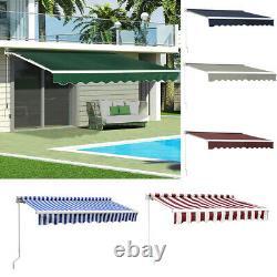 Patio Awning Retractable Manual Garden Sun Shade Canopy Deck Sunshade Shelter UK