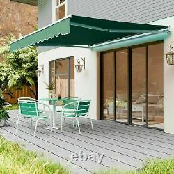 Patio DIY Manual Awning Garden Canopy Sun Shade Retractable Shelter Top Fabric