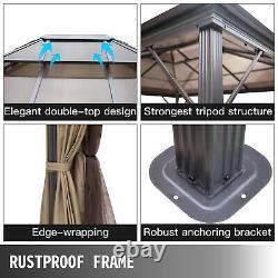 Patio Gazebo Hardtop Gazebo with Mosquito Netting 10x10 ft Outdoor Gazebo Canopy