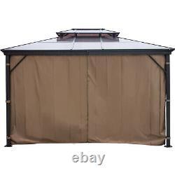Patio Gazebo Hardtop Gazebo with Mosquito Netting 10x12 ft Outdoor Gazebo Canopy