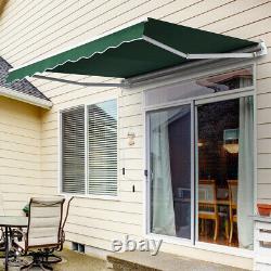 Patio Manual Awning Garden Canopy Sun Shade Retractable Shelter Oxford Fabric UK