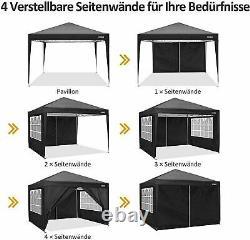 Pop Up Gazebo Canopy Marquee Strong Waterproof Heavy Duty Garden Patio Tent 3x3M